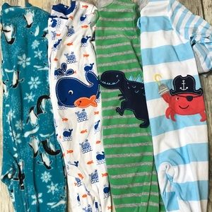 BUNDLE NEW 4 baby boy feety pajamas 12 month